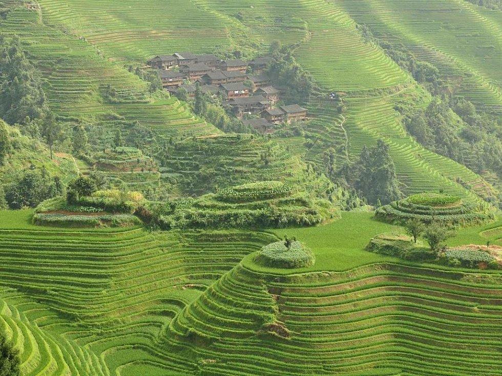 výhled na vesnici Tien Tao z vrcholu rýžových teras