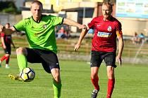 V utkání krajského přeboru fotbalisté FC Boskovice (zelené dresy) porazili FK SK Bosonohy 3:2.