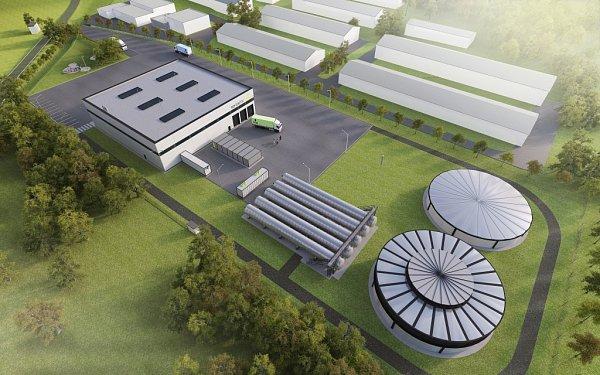 Vizualizace recyklační energetické linky, která by mohla stát vareálu bývalé farmy vŠebetově.