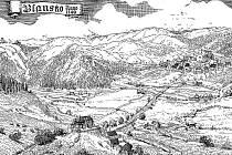 Na snímku je Blansko a jeho okolí začátkem patnáctého století. V popředí manský dvůr s tvrzí, nynější Nové Blansko. Vzadu Staré Blansko.