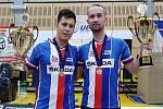 Mladí hráči v kolové z SC Svitávka Roman Staněk (vlevo) s Jiřím Hrdličkou mladším se rozloučili s kategorií do třiadvaceti let tak, jak si přáli. V dresu národního mužstva získali bronzovou medaili na mistrovství Evropy ve Zlíně.