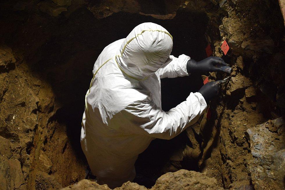 Tým odborníků z českých univerzit a dalších odborných pracovišť nedávno dokončil revizní výzkum v Býčí skále na Blanensku. Tam v roce 1872 objevil badatel Jindřich Wankel pohřebiště ze starší doby železné. Na snímku odběr půdní DNA.