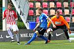 V jihomoravském derby Superligy malého fotbalu vyhrálo Blanensko (modré dresy) v Brně 4:2.