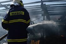 Hromada dřeva a auto v plamenech. Požární poplach druhého stupně. Několik hasičských jednotek zasahovalo v neděli krátce po třetí odpoledne ve skladu dřeva v Dolní Lhotě na Blanensku.