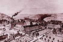 Pohled na továrnu v Letovicích v roce 1879.