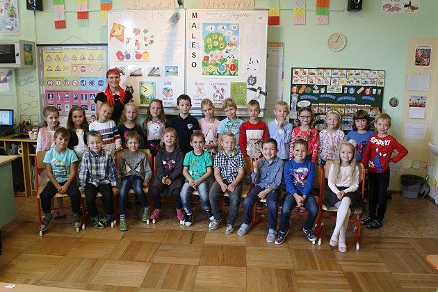 Žáci 1.B Základní školy vČerné Hoře spaní učitelkou Evou Filipovou.