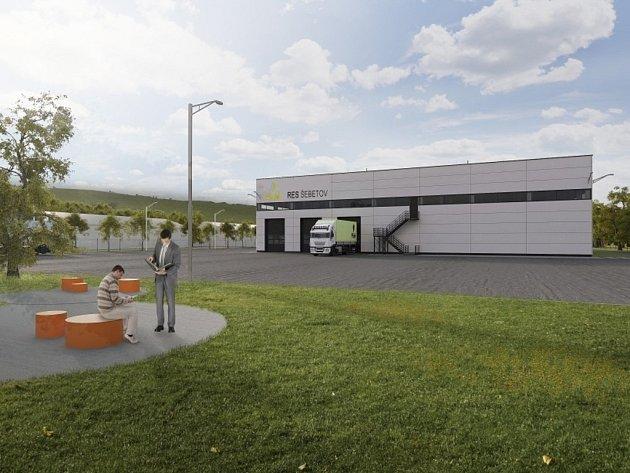 Vizualizace recyklační energetické linky, která by mohla stát v areálu bývalé farmy v Šebetově.