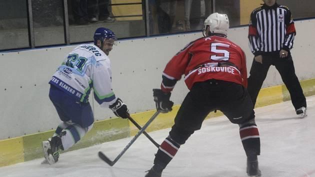 Hokejsité Blanska prohráli v derby s Boskovicemi 0:4.