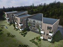 Vizualizace nového bytového komplexu Měšťanka ve Křtinách.