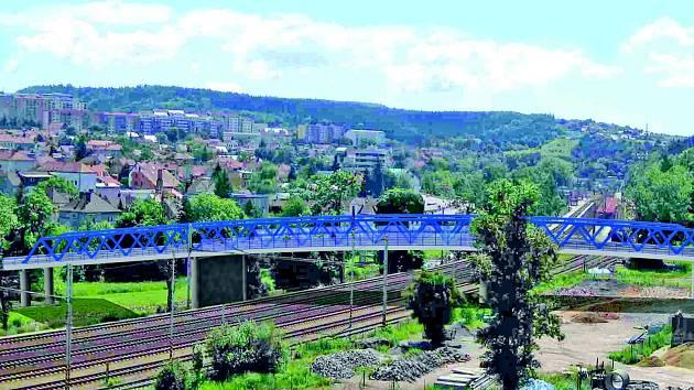 Vizualizace mostu přes řeku Svitavu a železnici do Starého Blanska.