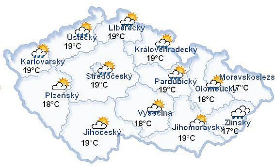 Mapa počasí celá ČR