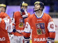 Boskovický Patrik Šebek (č. 42) při mistrovství světa v in-line hokeji v Pardubicích.