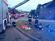 Požár střechy pohostinství v Cetkovicích na Blanensku.