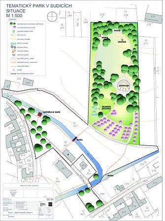 Situační plán budoucího parku vSudicích sohništěm, dětskými hřišti, bludištěm iamfiteátrem.