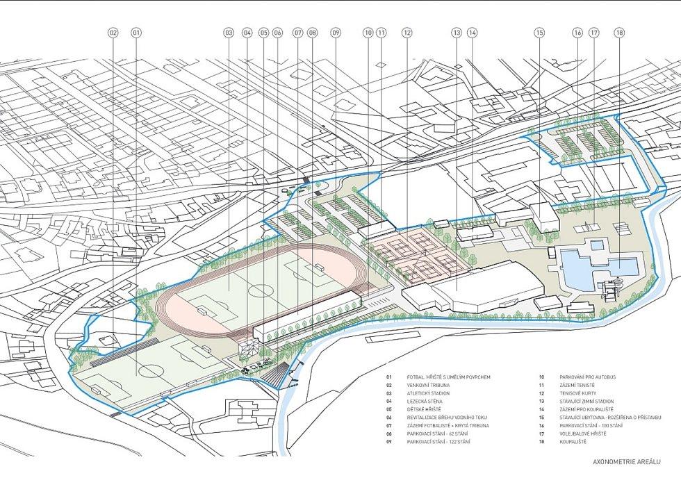 Boskovičtí představili architektonickou studii sportovního areálu Červená zahrada. Na snímku první návrh druhé varianty.