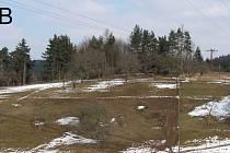Pohled na centrální část opevnění z cesty, vedoucí od ředitelství ČKD na Klepačov.