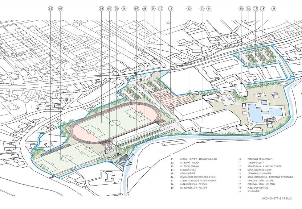 Boskovičtí představili architektonickou studii sportovního areálu Červená zahrada. Na snímku druhý návrh druhé varianty.