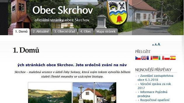 Internetové stránky obce Skrchov.