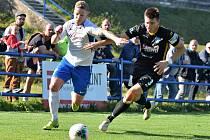 V ukání Moravskoslezské fotbalové ligy porazil FK Blansko (bílé dresy) na domácím trávníku 1. SC Znojmo 2:0.