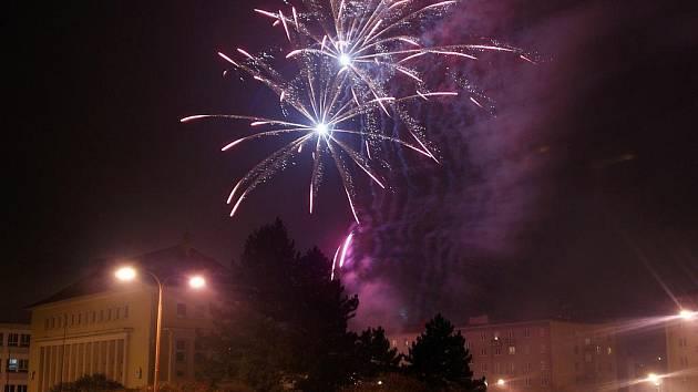 Novoroční ohňostroj v Blansku.
