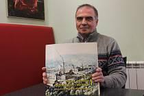 Jaroslav Budiš se svou knihou Historie Adamova a jeho strojíren v obraze.
