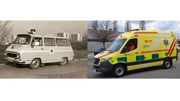 Populární dvanáctsettrojka (vlevo) už je minulostí. Záchranáři nyní vyjíždějí k pacientům sanitkou Mercedes Benz.