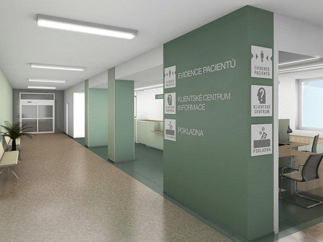 Vizualizace centra klientských služeb v boskovické nemocnici.