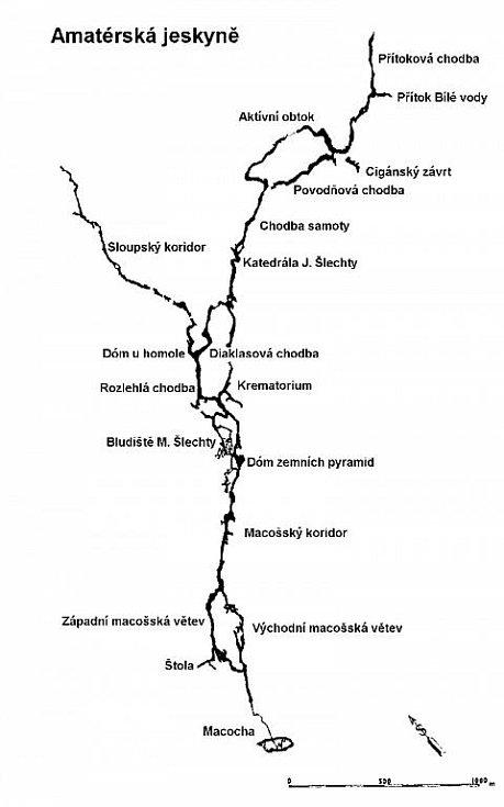 Mapa Amatérské jeskyně.