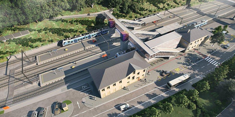 Nová lávka s výtahy. Dvě ostrovní nástupiště s bezbariérovým přístupem, parkoviště pro třicet aut. Rekonstrukce výpravní budovy plus demolice starých drážních objektů. Správa železnic plánuje velké investice v Adamově na tamním nádraží.
