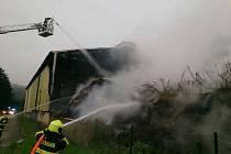 Požár kompostu v Blansku 18. 8. 2020.