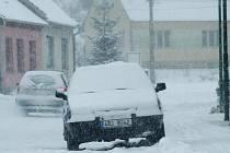 Zasněžené ulice Blanska.