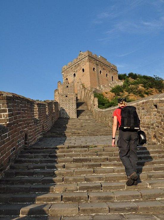 opravená část Velké čínské zdi u vesnice Jingshanling - některé výstupy jsou skutecně velmi prudké
