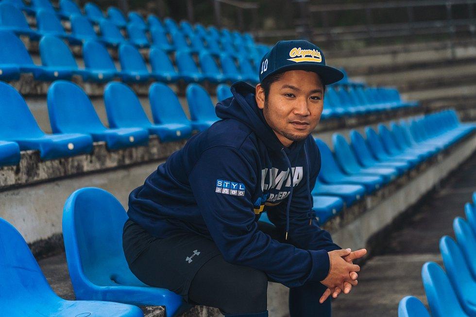 Japonský catcher baseballistů Olympie Blansko Natsuhiko Ue.