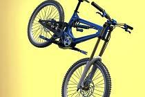 Celoodpružený závodní bicykl s osmistupňovou převodovkou.