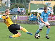 V okresním derby krajského přeboru fotbalistů zvítězila Olympia Ráječko (ve žlutých dresech) v Boskovicích 2:0.