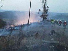 Požár nízkého lesního porostu u Lhoty Rapotiny na Blanensku.