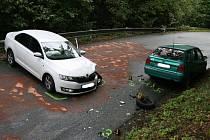 Dopravní nehoda dvou osobních aut blokovala provoz mezi Olomučany a Josefovem.