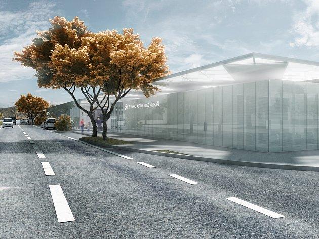 Prvotní architektonická studie nového autobusového nádraží vBlansku, pohled na budovu.
