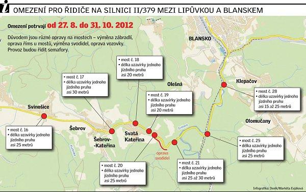 Omezení pro řidiče na silnici II/379 mezi Lipůvkou a Blanskem.