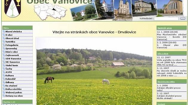 Nové internetové stránky obce Vanovice na Blanensku.