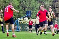 Momentka z utkání 4. ligy Rudka – FPO Blansko. Hosté vyhráli 2:1 a jsou po dvou kolech v čele soutěže.
