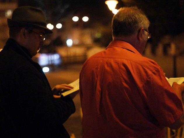 Čtení z Bible na náměstí Republiky v Blansku