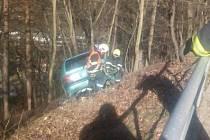 Po srážce chodce renault prorazil zábradlí, sjel ze srázu a zastavil až o strom.