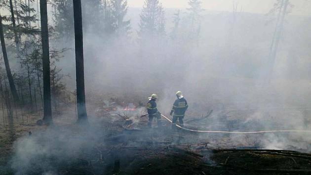 Požár zachvátil ve středu odpoledne les poblíž obce Vážany na Blanensku.