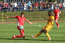 Nejlepší tipér z jižní Moravy je expert spíš na domácí fotbalové soutěže (v červených dresech Blansko z druhé ligy) než na zahraniční ligy.