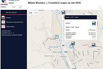 Print screen webové stránky s investiční mapou města Blanska.