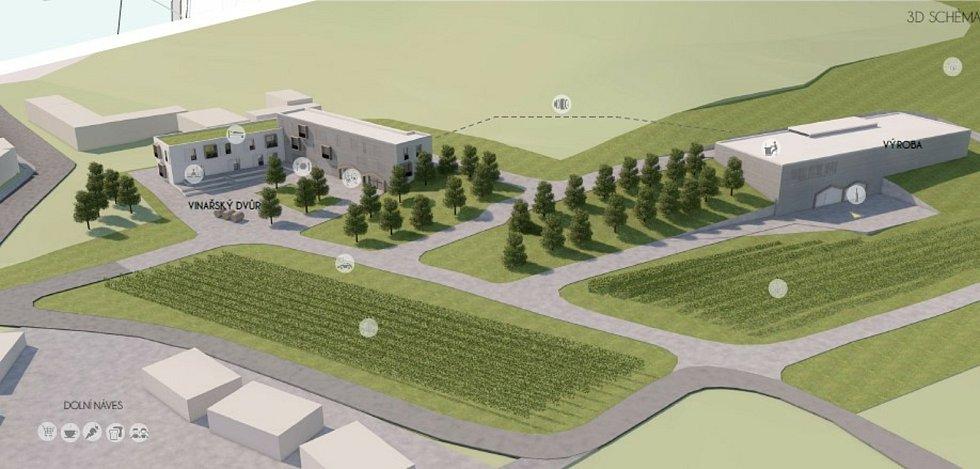 Vinařství. Vizualizace možného nového využití bývalého areálu JZD v Němčičkách na Břeclavsku. Návrh studentů z Ústavu architektury Fakulty stavební brněnské techniky.