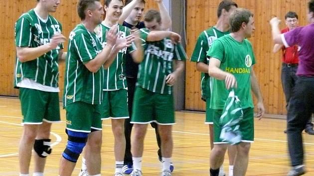 Házenkáři Legaty Hustopeče v utkání s Maloměřicemi.