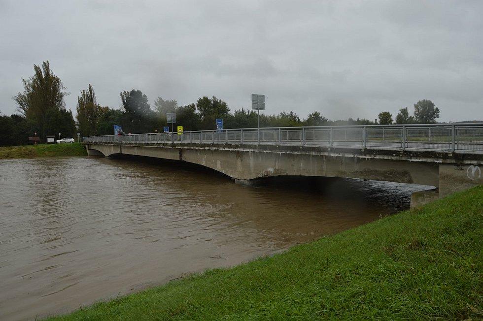 Rozvodněná řeka Morava v Lanžhotě.