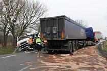 Na silnici číslo 40 mezi Mikulovem a Sedlecí se srazily dva kamiony. Srážku jeden z řidičů nepřežil.